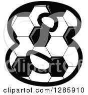 Grayscale Soccer Ball Number Eight