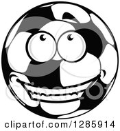 Happy Grayscale Soccer Ball Character Smiling And Looking Up