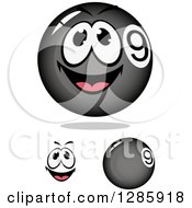 Clipart Of A Face And Black Billiards Nine Balls Royalty Free Vector Illustration