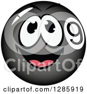 Clipart Of A Black Billiards Nine Ball Character Royalty Free Vector Illustration