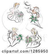 Clipart Of Brunette And Blond Caucasian Brides With Bouquets Of Pink Flowers Royalty Free Vector Illustration