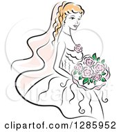 Clipart Of A Blond Caucasian Bride With A Bouquet Of Pink Flowers Royalty Free Vector Illustration by Vector Tradition SM