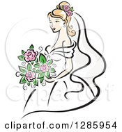 Clipart Of A Pretty Blond Caucasian Bride With A Bouquet Of Pink Flowers Royalty Free Vector Illustration