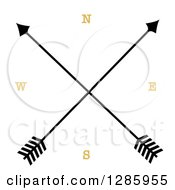 Clipart Of A Crossed Arrow Compass Royalty Free Vector Illustration