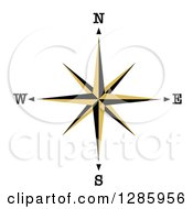 Clipart Of A Black And Gold Compass Rose Star Royalty Free Vector Illustration