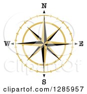 Clipart Of A Black And Gold Star Compass Rose Royalty Free Vector Illustration
