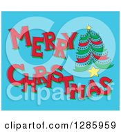 Clipart Of A Sketched Merry Christmas Greeting And Tree On Blue Royalty Free Vector Illustration