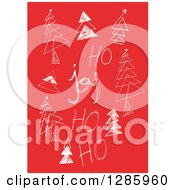 Clipart Of White Sketched Joy And Ho Ho Ho Text With Christmas Trees On Red Royalty Free Vector Illustration by Cherie Reve