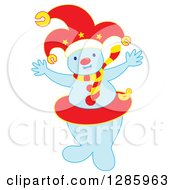Welcoming Snowman Wearing A Jester Hat