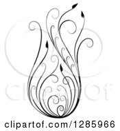 Clipart Of A Black And White Scroll Design Element With Floral Swirls 3 Royalty Free Vector Illustration