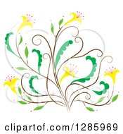Clipart Of A Brown And Green Floral Design Element With Yellow Flowers Royalty Free Vector Illustration