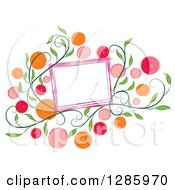 Clipart Of A Blank Frame With Colorful Citrus Fruits Or Flowers And Green Vines Royalty Free Vector Illustration