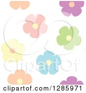 Seamless Background Pattern Of Colorful Pastel Flowers On White