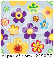 Seamless Background Pattern Of Colorful Flowers On Gray
