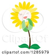 Clipart Of A Happy Yellow Daisy Or Sunflower Laughing Royalty Free Vector Illustration