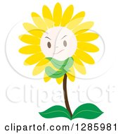 Clipart Of A Grumpy Yellow Daisy Or Sunflower Royalty Free Vector Illustration