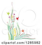 Clipart Of A Colorful Corner Border Of Flowers Plants And Birds With Text Space Royalty Free Vector Illustration