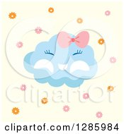 Clipart Of A Baby Girl Cloud Over Pastel Yellow With Bursts Royalty Free Vector Illustration by Cherie Reve