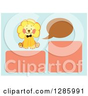 Clipart Of A Baby Background Template Of A Talking Lion And Frames On Blue Royalty Free Vector Illustration