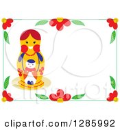 Nesting Doll Mother And Baby In A Border Of Flowers On White