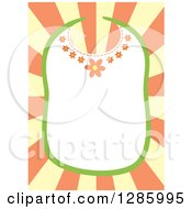 Clipart Of A Floral Baby Bib Frame Over Yellow And Orange Rays Royalty Free Vector Illustration by Cherie Reve