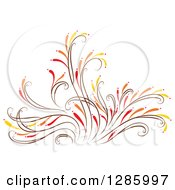 Clipart Of A Brown Orange Red And Yellow Floral Design Element Royalty Free Vector Illustration