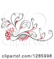 Clipart Of A Black And Red Floral Design Element Royalty Free Vector Illustration