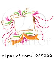 Blank Frame With Colorful Dots And Flowers