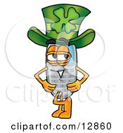 Wireless Cellular Telephone Mascot Cartoon Character Wearing A Saint Patricks Day Hat With A Clover On It