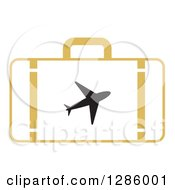 Clipart Of A Yellow Suitcase With A Silhouetted Airplane Royalty Free Vector Illustration