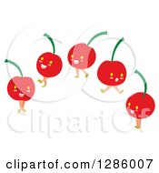 Clipart Of Happy Cherry Characters Royalty Free Vector Illustration by Cherie Reve