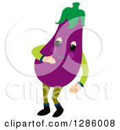 Clipart Of A Jolly Eggplant Character Royalty Free Vector Illustration by Cherie Reve