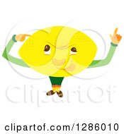 Clipart Of A Thinking Lemon Character Royalty Free Vector Illustration by Cherie Reve