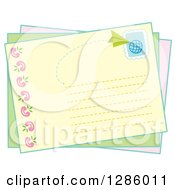 Clipart Of A Postcard With A Stamp And Paper Airplane Royalty Free Vector Illustration by Cherie Reve