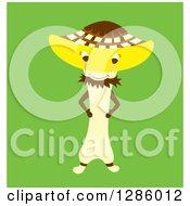 Happy Mushroom Character Over Green