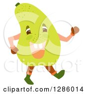 Clipart Of A Happy Pear Character Walking Royalty Free Vector Illustration