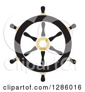 Clipart Of A Black And Gold Nautical Ship Helm Steering Wheel Royalty Free Vector Illustration by Cherie Reve