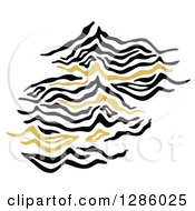 Clipart Of A Black And Gold Fingerprint Design Royalty Free Vector Illustration