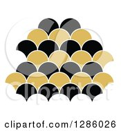 Clipart Of A Black And Gold Scallop Design Royalty Free Vector Illustration by Cherie Reve