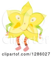 Clipart Of A Happy Star Fruit Character Royalty Free Vector Illustration by Cherie Reve