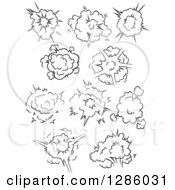 Clipart Of Black And White Comic Bursts Explosions Or Poofs 4 Royalty Free Vector Illustration