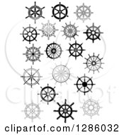 Clipart Of Black And White Ship Steering Wheel Helms 2 Royalty Free Vector Illustration