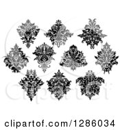 Clipart Of A Black And White Arabesque Damask Designs 10 Royalty Free Vector Illustration by Vector Tradition SM