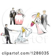 Clipart Of Retro Caucasian Wedding Couples Standing Walking And Dancing Royalty Free Vector Illustration by Vector Tradition SM