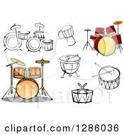 Clipart Of Drum Instruments Royalty Free Vector Illustration