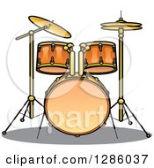 Clipart Of A Brass Drum Set Royalty Free Vector Illustration