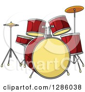 Clipart Of A Red And Yellow Drum Set Royalty Free Vector Illustration