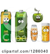 Clipart Of A Happy Green Apple And Juice 2 Royalty Free Vector Illustration