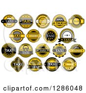Clipart Of Yellow And Black Taxi Labels 4 Royalty Free Vector Illustration