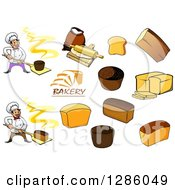 Clipart Of Chef Bakers And Bread Royalty Free Vector Illustration by Vector Tradition SM